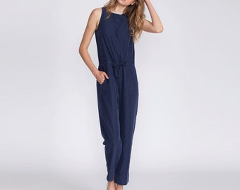 Jumpsuit, blue, overall, fitted overall, tailored jumpsuit, buttoned down jumpsuit, elegant wear, summer jumpsuit, summer sale, day to night