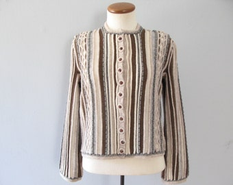 70s knit cardigan - vintage striped brown taupe tan gray sweater jumper preppy pinup chunky warm long sleeve button up boho small medium