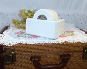 Vintage 50s ~Ideal Moistener~Heavy White Ceramic~Sengbusch Milwaukee~Stamp Roll Moistener