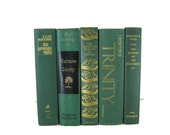 Green  Books , Old Green Books , Decorative Books  , Books , Wedding Centerpiece , Book Home Decor ,  Vintage Books , Instant Library