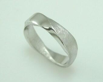 18K Mobius Wedding band - 5mm Mobius Ring In 18k White Gold, Mobius Wedding Ring, Modern & Contemporary, Mens Wedding Band,