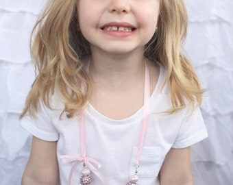 Ribbon Necklace in Multi Pink-Tone Beads, Bow Detail, Pink Satin Ribbon; Toddler, Child Size. Great for Photo Sessions, Dress-up, etc