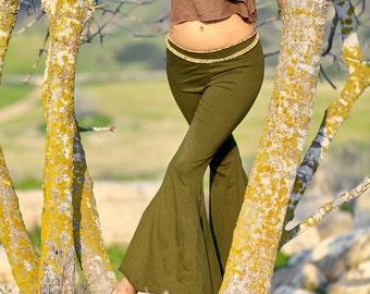 Yoga Pants ~ Wide bottom leggings With Slits ~ Organic Cotton