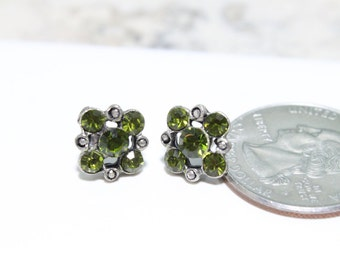 Small Square Flower Stud Earrings with Olivine Swarovski Crystals