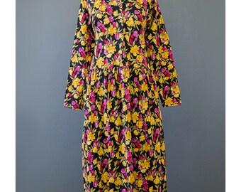 SALE - Floral Babydoll Dress Grunge Dress 90s Dress Yellow Pink Black Floral Dress 1990s Dress Cotton Jersey Dress Baby Doll Dress