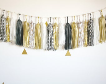 Black, White and Gold Metallic Sparkle Tassel Garland ... New Years Eve Party Banner . Wedding Ceremony Decor . Gold Photo Booth Prop