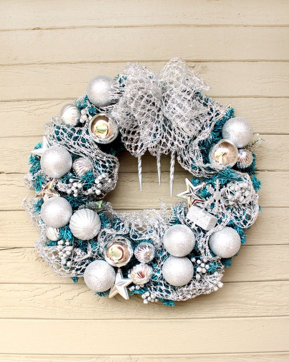Silver Holiday Wreath, Turquoise Evergreen Wreath, Silver Glitter Ornaments, Silver Mesh Ribbon, Silver Stars, Front Door Wreath