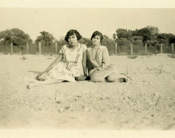 "Vintage Photo ""Resting on Sandy Beach"" Snapshot Old Antique Photo Black & White Photograph Found Paper Ephemera Vernacular - 46"