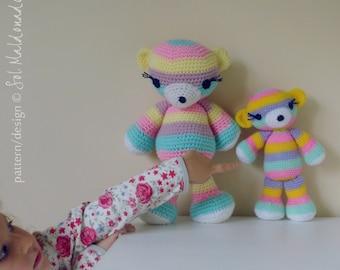 Bear Crochet Pattern Amigurumi PDF - Striped bear amigurumi Toy crochet pattern - Instant DOWNLOAD