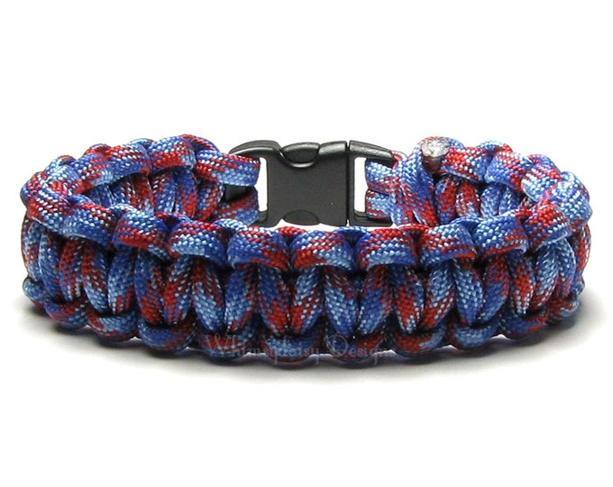 Paracord Bracelet Baby Jack Imperial Red Royal Blue Survival Accessory Patriotic American Hero Outdoorsman Camping Hunter Hiker Military Mom