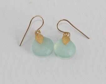 Chalcedony Earrings, Blue chalcedony Earrings, Blue Gemstone Gold Earrings, Jewel Garage