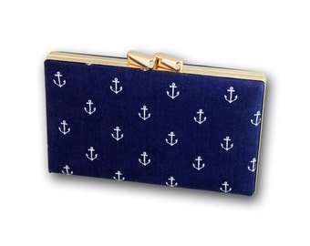 Navy blue box clutch with white anchors