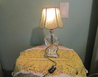Vintage Perfume Bottle Lamp / 40s Small Night Table Lamp Repurposed