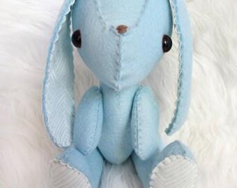 Organic Wool Felt Baby Blue Plush Bunny Rabbit