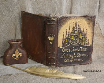 Personalized Once upon a time guest book, Fairy tale wedding Guest Book, Fantasy Weddings, castle wedding, rustic wedding guest book