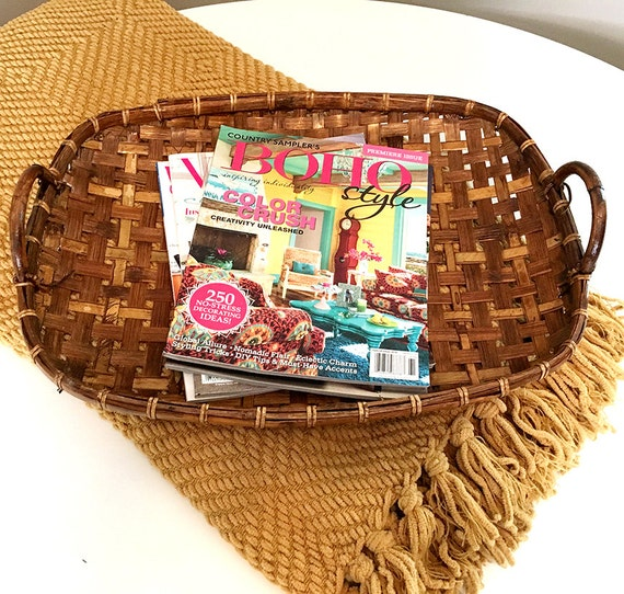 Chic Rattan Coffee Table: Boho Style Woven Basket Tray / Coffee Table Tray / Woven