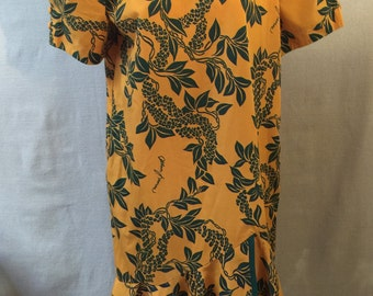 Vintage Allan James Hawaiian Dress Muumuu Resort Wear Orange Green Button Back Ruffle Hem Size 4  **Free USA Shipping**