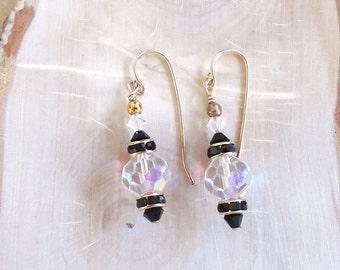 Swarovski Crystal Clear AB & Jet Earrings, Dangle Earrings, Bridal Jewelry, Night Out Earrings, Gold Filled Earrings, Handmade Earrings