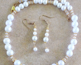 White Pearl Necklace Set Jewelry Set Handmade Gold Filled Pearl Necklace Set Gifts for Her Bridal Jewelry Fine Jewelry Pearl Necklace  #1447