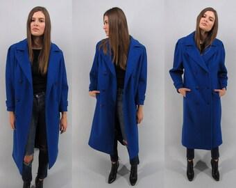 Vintage 80s Oversized Coat, Minimalist Wool Coat, Double-Breast Coat, Royal Blue Coat, Structured Midi Coat Δ size: sm / md
