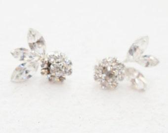 Crystal Earrings, Silver Stud Earrings, Crystal Cluster Earrings, Cluster Earrings, Crystal Flower Earrings, Rhinestone Earrings, Earrings