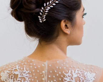 Crystal Comb, Crystal Hair Vine, Hair Vine, Rhinestone Comb, Crystal Hair Piece, Bridal Hair Piece, Whimsical Hair Piece, Gilded Hair Piece