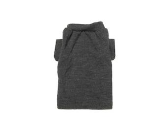 Designer Dog Sweater, Small Soft Gray Merino Wool, Boy Dog Clothes, Pet Apparel ,Puppy Boutique 0334