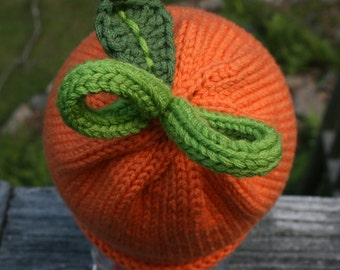 Pumpkin Hat - Hand Knit for Baby