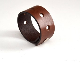Leather Cuff Bracelet - Brown Leather - Size LARGE