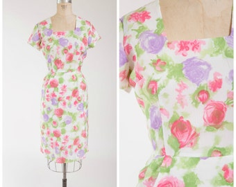 Vintage 50s Dress • Blooming Romance • Floral Late 1950s Sheath Dress Size Medium
