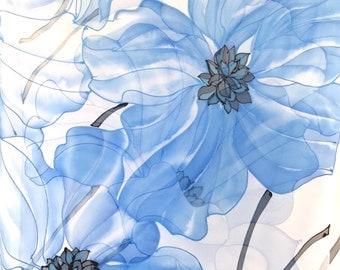Bridal Chiffon Shawl, Wedding Silk shawl, Oversized Scarf, Handpainted Scarf, Ocean Blue Poppies, Silk Takuyo, 22x90 inches, made to order