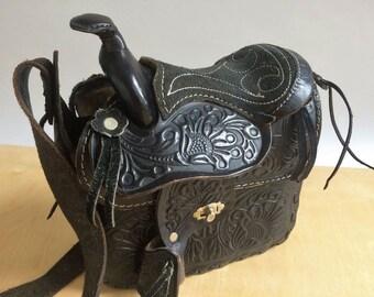 Vintage Southwestern Tooled Leather Saddle Purse Black Floral Rivets Long Strap Boho