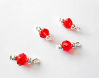 Orange - Red Faceted Rondelle Dangle Beads