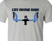 Bicycle T-Shirt-LIFE BEHIND BARS-Road Bike T-shirt, Grey tee,Gifts for Cyclists,Road bike gift,bicycle gift,for him