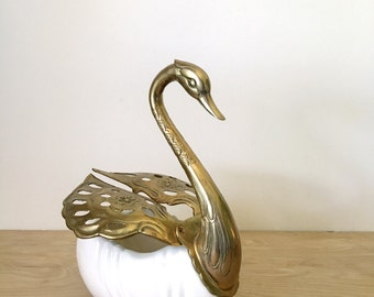 Rare Large Vintage Brass and White Ceramic Swan Bird Bowl with Expandable Wings