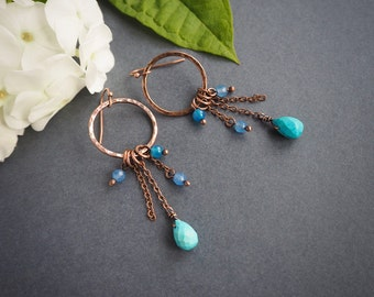 baby blue boho style copper earrings, long dangle earrings, rustic style, hippie style, gift for her, summer jewelry, colorful earrings