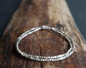 Hill Tribe Silver wrap bracelet - Silver wrap bracelet - Delicate bracelet - Thai Hill Tribe Silver double wrap minimalist bracelet