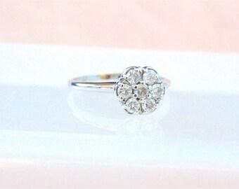 Vintage Diamond 14K White Gold Engagement Ring