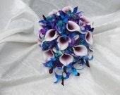 Purple, teal, blue bridal bouquet, purple blue orchids, picasso calla, teal purple hydrangea bouquet, bridal bouquet