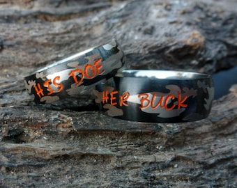 camouflage matching couples rings camo rings couples rings camo wedding bands custom camo rings custom camo wedding set camo wedding - Camo Wedding Rings Sets