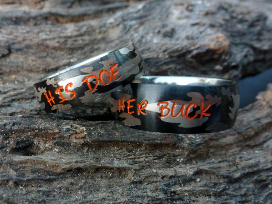 camouflage matching couples rings camo rings couples rings camo wedding bands custom - Camo Wedding Ring Set