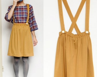 Mustard Yellow Pinafore Dungaree Skirt (removable braces) (Mister Mustard)