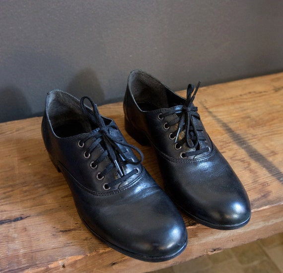 Sz. 6.5 / 7 | Classic Black Leather Oxfords 36.5 / 37 Oxford Shoes Made in Brazil Lace Up Brogues Flats Mod Minimalist Men's Wear Influenced