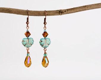 Windswept. Czech Glass Beaded Dangle Earrings.