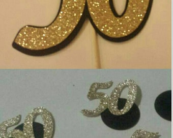 50th Party Package Confetti and Cake Topper Your choice of colors! 30th 40th 50th table decor birthday party or Anniversary