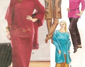Plus Sz Top Shawl Pants Skirt Pattern 26W to 32W