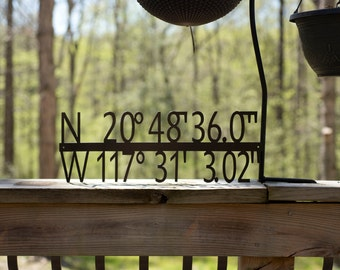 Steel GPS Coordinate Latitude Longitude Metal Sign – Custom Made Metal Sign - Wedding Gift – Housewarming Gift