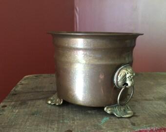 Vintage Copper & Brass Planter/ Jardiniere With Lion Pulls