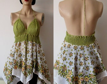 PISTACHIO GREEN Dress Backless Dress  Beach Open Back Dress White beach cover up dress Cute cover up Asymmetrical dress Handknit dress