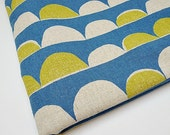Japanese Cotton Linen Fabric, Scalloped Fabric, Waves Fabric - Yellow Blue